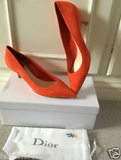 £450 Christian Dior Orange Suede 'cherie' Kitten Heel Pumps sz 40