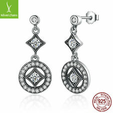 XMAS Classic Elegant Authentic 925 Sterling Silver AAA Zircon Round Long Earring