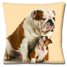 "ENGLISH BULLDOG ADULT & PUP 'Looking up to Dad' Cream 16"" Pillow Cushion Cover"
