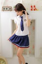 Cute Japanese Hight School Girl Costume Sex Lingerie with Tie