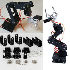 Black 1 Set 6 DOF Aluminium Mechanical Robotic Arm Clamp Claw Mount Robot Kit
