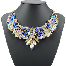 Charm Rhinestone Crystal Chunky Statement Bib Pendant Chain Choker Necklace