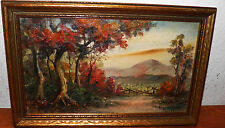 "True Vintage Oil on Board Landscape Early Eugene La Foret Gorgeous color 9""x14"""