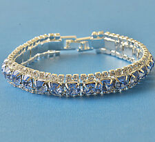 Around Blue Cubic Zirconia 9K White Gold Filled Womens Bracelet F6092