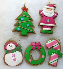 Gingerbread Cookie w Pink Santa, Snowman, Candy Cane Christmas Tree Ornaments