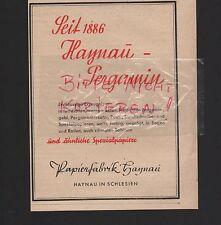 HAYNAU Schlesien, Werbung 1941, Papierfabrik Haynau Pergamin