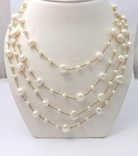 """14k Yellow Gold Four Strand Freshwater Button Pearl Long Necklace  Sz 36"""""""
