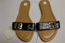 NEW Womens Shoes Black Buckle Slip-On Sandals Size 6 Ladies Flats Slides Summer