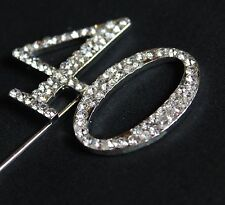 SILVER NUMBER 40 CAKE PICK TOPPER DECORATION 40TH DIAMANTE SPARKLY