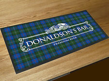Personalised white beer label Tartan Beer label Bar runner counter mat Pubs