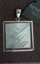 Sterling Silver Square Mother of Pearl MOP Pendant Necklace Charles Albert