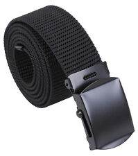 "Web Belt Black Military Style Nylon Web Belt w/ Black Color Buckle 54"" 4241"