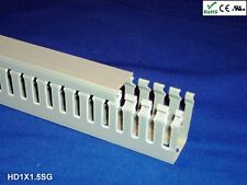 "18 New 1""x1.5""x2m Narrow Finger Open Slot Wire Cable Raceway Duct Cover,PVC,Gray"