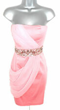 BNWT Jane Norman Peach Coral Embellished Jewel Draped Bandeau Dress 8