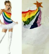 Adult Costume Sexy Rave Rainbow Short White Dress Cosplay Pride Costume Small