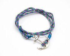 BC797F * Bracelet Mixte 3 Tours Cordon Ancre Marine Métal Mode - Bleu/Multi/Arg