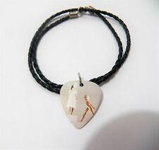 """SIA Kate Isobelle Furler guitar pick plectrum braided LEATHER NECKLACE 20"""""""