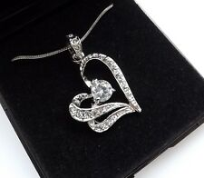 Boxed MOTHER GIRLFRIEND Birthday Present CZ Crystal Silver Heart Necklace GIFT