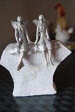 Figur Engel Skulptur Engelpärchen höhe 18cm auf Stein sitzend Polyresin Pajoma