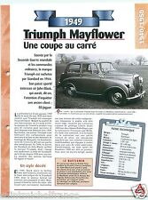 Triumph Mayflower Mini 4 Cyl. 1949 UK England Car Auto Retro FICHE FRANCE