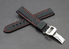 20MM Rubber Strap Band Black Red + Deployment Buckle Clasp FOR IWC PILOT