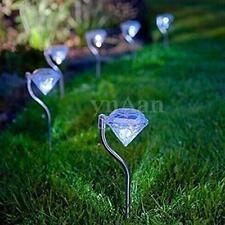 4x LED Solaire Diamond Lampe Blanc Lumière Jardin Pelouse Cour Eclairage Déco