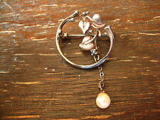 bezaubernde florale Jugendstil Brosche Art Nouveau Brooch 800er Silber Saphir