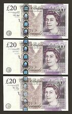 2006 / 2012 / 2015  England £20 Pounds Notes Set Uncirculated
