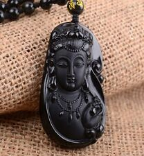 Natural A Obsidian Carved Kwan-Yin Lucky Amulet Pendants + free Beads Necklace