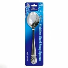 6 PC STAINLESS STEEL SOUP SPOON CUTLERY SPOONS SET - UK SALE
