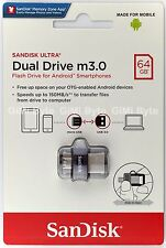 SanDisk 64 GB 64G Ultra Dual Drive OTG m3.0 micro USB Android USB 3.0 On-The-Go