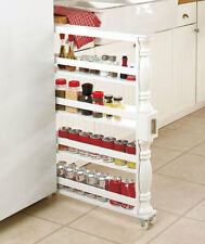 Wooden Rolling Slim Can and Spice Rack Storage Organizer White NEW