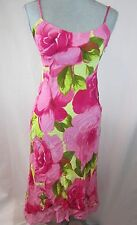 American Angel Tropical Print Dress Hawaii Print Floral Pink Yellow Spaghetti St