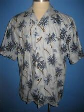 Hilo Hattie Blue Palm Trees Fuel Cell Hawaiian Camp Shirt XL NWOT