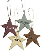 Wooden Star Ornaments with Words- Set of Four-Primitive decor