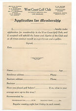 1920s West Coast Golf Club Los Angeles Membership Form