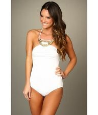 $402 MICHAEL KORS Collection 10 White One Piece Metal Necklace Detail SWIMSUIT