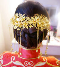 Chinese Style Beads Hair Comb Bridal Jewelry Gold Wedding Accessory Handmade