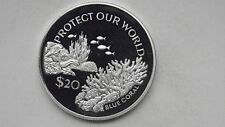 1994 Tuvalu $20 Blue Coral Silver Proof coin