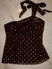 NWT Kenar Black Gold One Shoulder Top size 8 ~STUNNING~