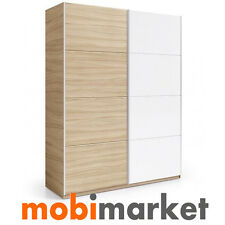 Armario 2 puertas correderas de 180 cms. en color nature y blanco brillo