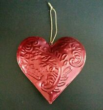 Beautiful Dark Red Hanging Tin Metal Hearts, Shabby Chic, Vintage Style