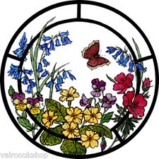 STAINED GLASS WINDOW ART STATIC CLING WOODLAND FLOWERS