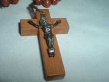 VINTAGE ESTATE HAND CARVED WOOD ROSARY IN GIFT BOX