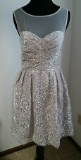 NWT DECODE 1.8 LACE PARTY DRESS SILVER-MODCLOTH FROST AND FOUND DRESS SZ 4