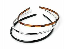 3 Black Tort Brown Silver Narrow Thin Plastic Headband Alice Hair Bands Teeth