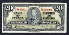 1937 $20.00 BC-25b F-VF ** SCARCE Bank of Canada George VI GORDON Twenty Dollars