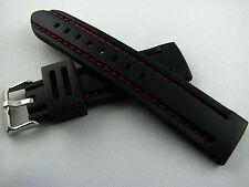 Neutrales Silikonband 20, 22 oder 24 mm - Steppnaht mit Breitdornschließe