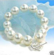 "12MM AAA White South Sea shell pearl bracelet 7.5-8"" LL007"
