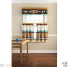 Southwestern 3 Pc Kitchen Curtain Set Valance Tiers Window Colorful Free Ship